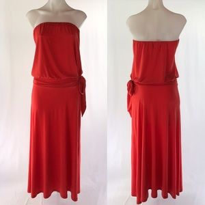 Veronica M strapless blouson dress in coral